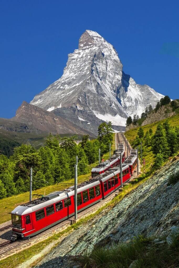 Swiss trains in the mountains