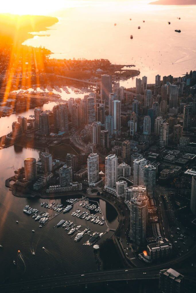 Aeriel view of Vancouver Canada